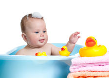 Baby kid taking bath and playing Royalty Free Stock Photo