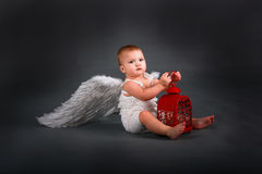 Baby Kid in white dress with angel wings. With red light , the concept of Valentine's Day Stock Photography