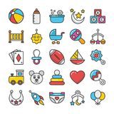 Baby and Kids  Colored Vector Icons 1 Royalty Free Stock Photo