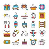 Baby and Kids  Colored Vector Icons 2 Stock Photography