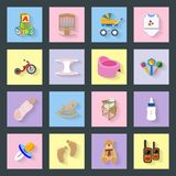 Baby and kids flat icons set Royalty Free Stock Image