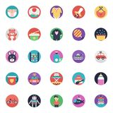 Baby and Kids Flat Vector Icons Collection. This pack of flat icons consists of wide range of kids, babies, and children accessories. This set has toys, baby Royalty Free Stock Image
