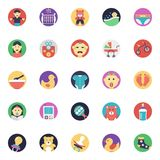 Baby and Kids Flat Vector Icons Set. This pack of flat icons consists of wide range of kids, babies, and children accessories. This set has toys, baby wears Royalty Free Stock Images