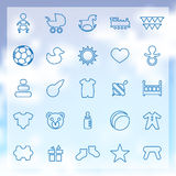 25 baby, kids icons set. 25 outline baby, kids icons set, blue on clouds background Stock Image