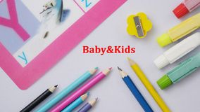 Baby&Kids Stationery. Equipment work station on white back ground Royalty Free Stock Images