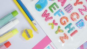 Baby&Kids Stationery. Equipment work station on white back ground Royalty Free Stock Photo