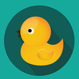 Baby, kids toy. Classic yellow rubber duck for bath. Vector icon with long shadow. Royalty Free Stock Photos
