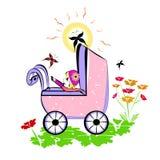 Baby in kinderwagen. De zomerillustratie Stock Fotografie