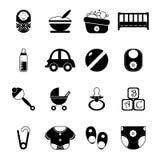 Baby-Kindheit lokalisierte Schattenbild-Ikonen-Symbol-Satz-Vektor-Illustration Stock Abbildung