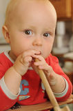 Baby in kitchen Stock Image