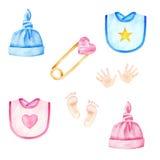 Baby-Kleidung Jungen und Mädchenhüte, Schellfische Scherzt Zubehör Dekoratives Bild einer Flugwesenschwalbe ein Blatt Papier in s stock abbildung