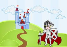 Baby knight with castle on background. Cartoon style baby knight with castle on background Stock Image