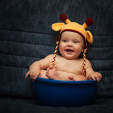 Baby in knitted cap Royalty Free Stock Image