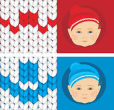 Baby knitted caps. Banner for design Stock Image