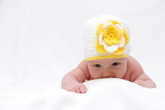 Baby with a knitted hat Royalty Free Stock Photos