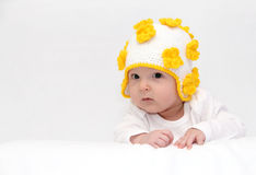 Baby with a knitted hat Royalty Free Stock Images