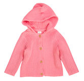 Baby knitted long sleeve hooded top isolated Royalty Free Stock Images