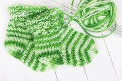 Baby knitting socks Royalty Free Stock Image