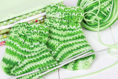 Baby knitting socks Royalty Free Stock Photo