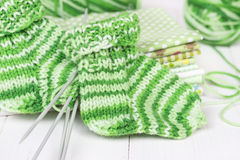 Baby knitting socks Royalty Free Stock Images