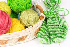 Baby knitting socks Stock Image
