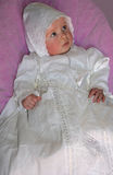 Baby in lace gown Royalty Free Stock Images