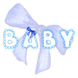 Baby lace word boy blue lettering bow ribbon tape isolated Stock Photos