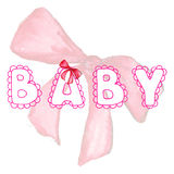 Baby lace word girl pink lettering bow ribbon tape isolated Royalty Free Stock Images