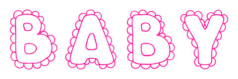 Baby lace word girl pink lettering line art vector.  Royalty Free Stock Image