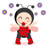 Baby Ladybug. Cute sweet baby girl wearing ladybug costume Royalty Free Stock Images