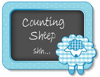 Baby Lamb Nursery Frame. Baby lamb nap time nursery bulletin board, Counting Sheep, pastel aqua gingham, polka dots for scrapbooks, albums, baby books. EPS8 Royalty Free Stock Photos