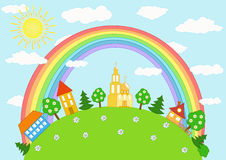 Baby landscape. Rainbow. Stock Photos