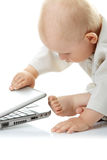 Baby with laptop Royalty Free Stock Photography