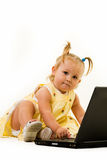 Baby on laptop Royalty Free Stock Photography