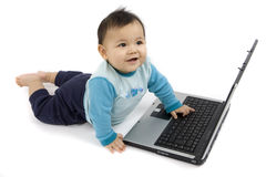 Baby with Laptop Royalty Free Stock Image