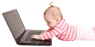 Baby with laptop royalty free stock images