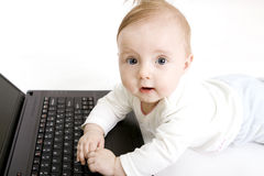 Baby with laptop Stock Photography