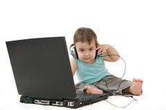 Baby laptop and headset Stock Photography