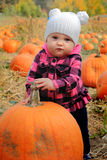 Baby with large pumpkin Royalty Free Stock Images