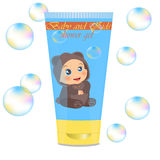 Baby lather tube with kids design. High quality original trendy vector Baby lather tube with kids design Royalty Free Stock Photography