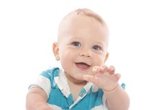 Baby Laughing. Adorable Baby Boy laughing, on white background stock photos