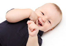 Baby laughing. Little happy baby laughing smile stock photos