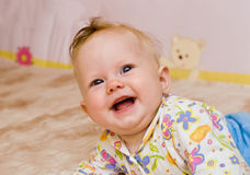 Baby laughter. Portrait of happiness baby laughter royalty free stock images