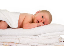 Baby on laundry Royalty Free Stock Photography
