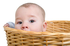 Baby in the laundry basket Royalty Free Stock Images