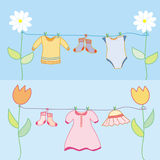 Baby laundry for boy and girl Royalty Free Stock Photography