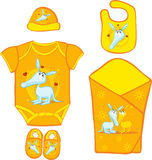 Baby Layette with cute ardvark - vector Stock Photo