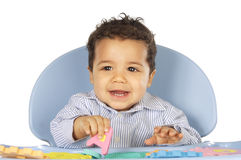 Baby learn letters playing Stock Photos