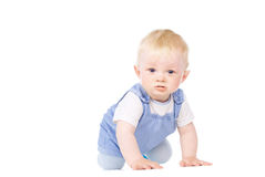 The baby learns to crawl Stock Image