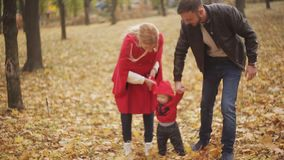 Beautiful family enjoying a walk in autumn day in the park. a small child learns to walk with his mother and father stock footage